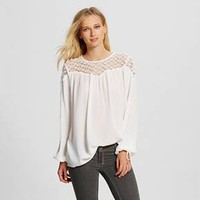 Women's Long Sleeve Blouse with Crochet White - ... : Target