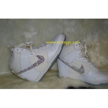 Custom Bling White Nike Dunk Sky Hi Wedge 248880cf7