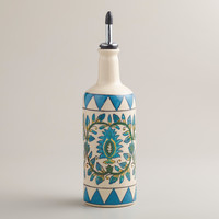 Floral Hand-Painted Ceramic Oil Bottle - World Market