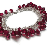 "Swarovski Birthstone Charm Bracelet - July Ruby in Silver - 7"" with Extender Optional - BRC082"