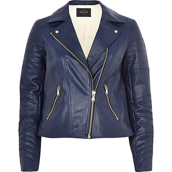 Navy leather biker jacket - leather / leather look jackets - coats / jackets - women
