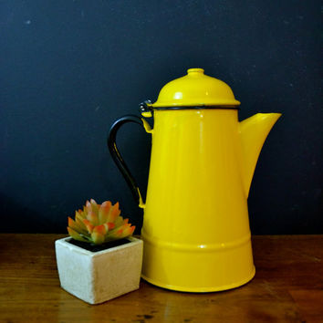 Vintage Enamelware Tea Kettle, Yellow Enamelware Coffee Pot, Made in Poland, Stove Top Coffee Kettle, Metal Coffee Pot