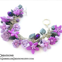 Flower Bridal Bracelet in shades or Purple - Roses jewelry in floral design - Bridesmaid Charm Bracelet - Swarovski and Sterling Silver 925