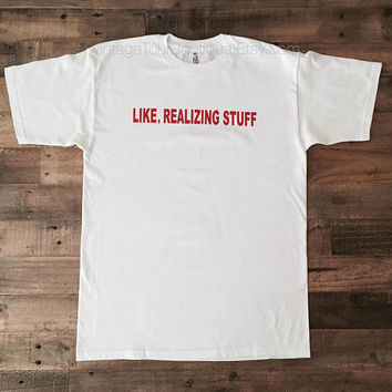 Kylie 'Like Realizing Stuff' Tee Shirt from the KYLIE SHOP Kylie Jenner Merch White T-Shirt