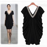 Dress Summer Women loose style plus size clothes Short sleeve Black Solid Deep V neck High Quality fashion design Free shipping