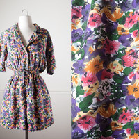 Soft Grunge Romper   80s Romper High Waisted Shorts Button Down Shirt 80s Shorts Ditsy Floral 80s Jumpsuit Outfit Boho Chic 90s Grunge M