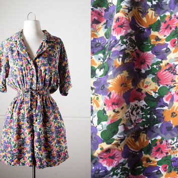 Soft Grunge Romper | 80s Romper High Waisted Shorts Button Down Shirt 80s Shorts Ditsy Floral 80s Jumpsuit Outfit Boho Chic 90s Grunge M