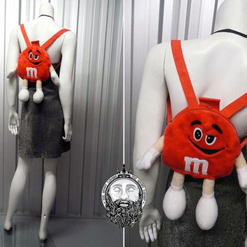 Vintage 90s Mini Backpack Novelty Purse Club Kid M and Ms Rave Wear 90s Grunge Smiley Face Plush Bag Plush Backpack M and M Furry Backpack