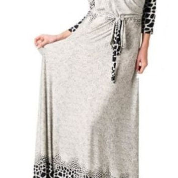 Eliza Bella for Tua Maxi Dress Boho Hippie Animal Print Faux Wrap Bodice S,M,L