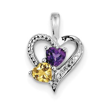 Sterling Silver Genuine Heart Amethyst, Citrine And Diamond Pendant
