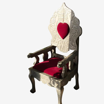 Indian Antique Queen of Hearts Chair Red Velvet Cushion Chair - Beautiful Floral Hand Carving Furniture