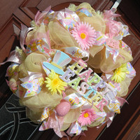 Pink yellow Deco Mesh Easter Wreath, Pink Yellow Easter, Easter egg wreath, Pink Yellow Wreath, Easter Decor, Spring Wreath