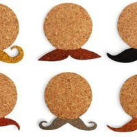 Kikkerland Mustache Cork Coasters, Set of 6