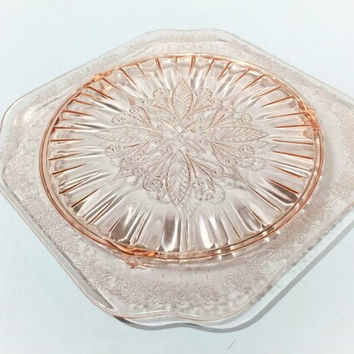 Jeannette Pink Depression Glass Footed Cake Plate, Adam Pattern, Jeannette Pink Depression Glass Footed Cake Plate, Pink Glass Cake Plate