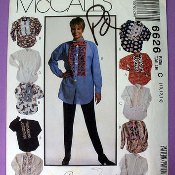 Women's Shirt and Bow Tie Misses' Size 10, 12, 14 McCall's 6626 Sewing Pattern Uncut