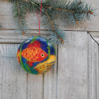 Christmas tree ornament, large felted Christmas ball with colorful fishes, OOAK