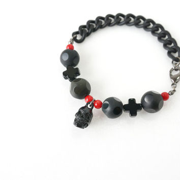 Men Skull Bracelet with Matte Faceted Obsidian Stone, Black Onyx and Red Coral, Men's Fashion Jewelry