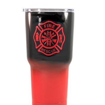 Firefighter - personalized 30 oz Custom Powder Coated Yeti / Custom Coated Cups Tumbler - (Logo is SEALED)