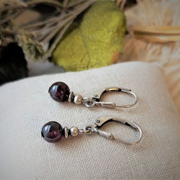 Artisan Crafted Sterling Silver Garnet Leverback Drop Earrings