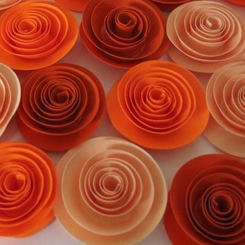 "Fall Flowers, set of Ombre orange roses, 12 party favors, 1.5"" rosettes, Fall table centerpiece ideas, Halloween table decor"
