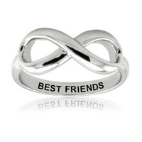 TIONEER Sterling Silver Best Friends Engraved Infinity Ring, Size 4