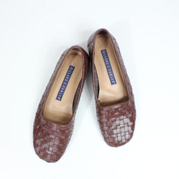 Size 7 cute woven leather loafers / huarache shoes / unisex loafers / slip on shoes / size 7