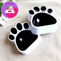 DoreenBeads 1PC Pet Bowl Creative Paw Footprint Food Water Bowl for Cats Dogs Black Plastic Universal Pet Feeders 16x13.5x4.5cm