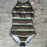 Stripe One Piece Swimsuit Bathing Suits  Bodysuit