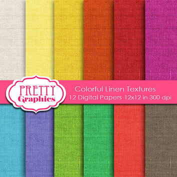 COLORFUL lINEN tEXTURES  - Printable Papers - Commercial Use  - 12x12 JPG Files  -  Scrapbook Papers - High Quality 300 dpi