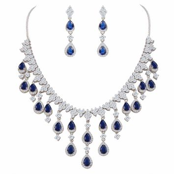 BELLA Fashion Elegant 5 Colors Teardrop Dangle Bridal Necklace Earrings Set Cubic Zircon Jewelry Set  For Wedding Party Jewelry