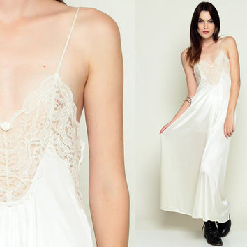 Slip Dress Sheer Nightgown Lingerie Lace White 80s Maxi Boho Vin