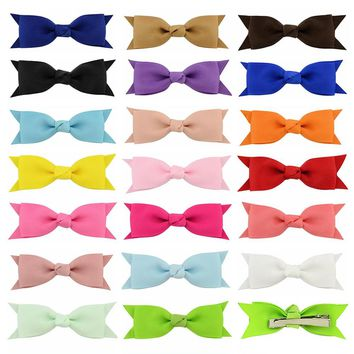 "20 Pcs/Lot Grosgrain 3"" Alligator Hair Bow Clips for Baby Girl Toddlers Kids Infant Children Handmade Barrettes Hair Accessories"