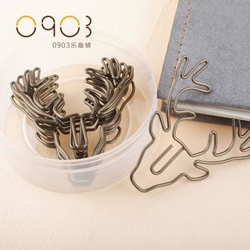 Free shipping vintage deer clip bookmark plus size pin stationery gold deer paper clips