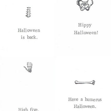 Skeleton Anatomy Halloween Cards Funny Medical Humor Bone Puns Science Nerdy Biology Black And White Happy Halloween