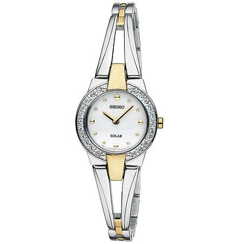 Seiko Tressia Solar Two-Tone Ladies Swarovski Crystal Dress Watch - White Dial