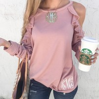 Monogram Lexi Cold Shoulder Ruffle Top