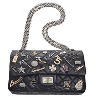 Chanel Rare Black Quilted Lucky Charms 2.55 Reissue 225 Double Flap Bag