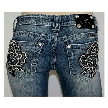 Miss Me-Leather And Embroidered Rose