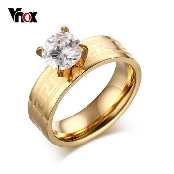 Vnox Women Wedding & Engagement Ring Gold-Color Stainless Steel for Women/Female Prong Setting CZ Stone