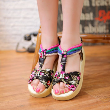 Shoes Floral Female Sandals = 5825067137