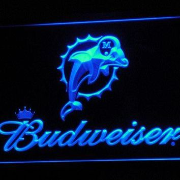 b297 Miami Dolphins Budweiser Bar LED Neon Sign with On/Off Switch 7 Colors 4 Sizes to choose