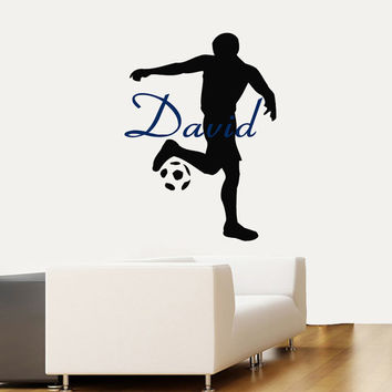 Soccer Player Wall Decals Man Personalized Name Sport Boy Sportsman Stickers Home Art Vinyl Decal Sticker Kids Nursery Baby Room Decor kk781
