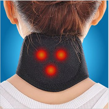 Self Heating Tourmaline Magnetic Massage Neck Heat Therapy Belt Wrap Brace Black Cotton Heat Sensitive Relief Neck Painful