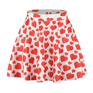 EAST KNITTING NEW SUMMER WOMEN SKIRT RED LOVE 3D PRINTED SKIRT FOR GIRLS