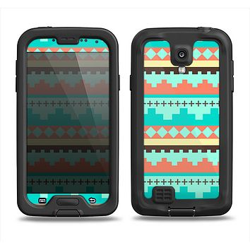 The Teal & Gold Tribal Ethic Geometric Pattern Samsung Galaxy S4 LifeProof Fre Case Skin Set