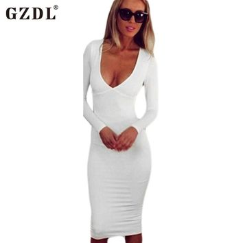 Deep V Neck Backless Hollow Out Stretch White Plunge Midi Dresses CL2035
