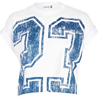White 23 print cropped t-shirt - tops - sale - women