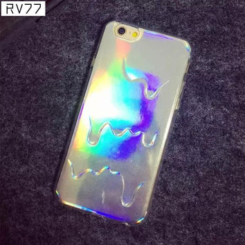 3D Diamond Laser Melting Rainbow Color For iphone 6 6S Case Hologram Iridescent Triangle Pastel Phone Cases For iPhone 6 plus