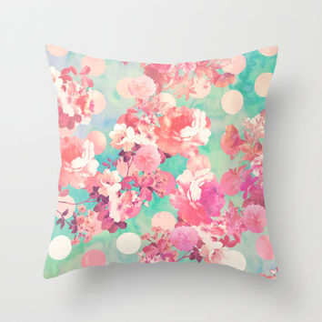 Romantic Pink Retro Floral Pattern Teal Polka Dots Throw Pillow by Girly Trend | Society6