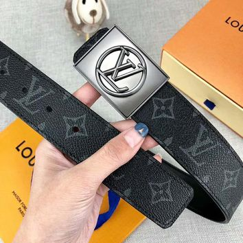 Louis Vuitton LV Fashion New Monogram Print Leather Leisure Women Men Belt Width 3.8 CM Black